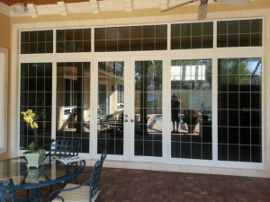 Impact french doors with sidelite and transom